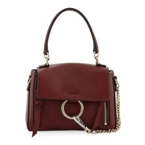 Chloé Faye Daye Mini Leather/Suede Shoulder Red